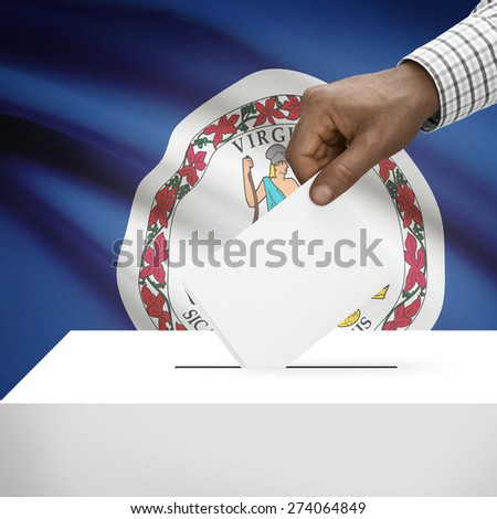 Ballot box with US state flag on background - Virginia - stock photo