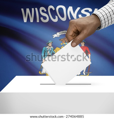 Ballot box with US state flag on background - Wisconsin - stock photo