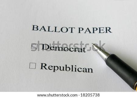 Ballot paper for USA elections - vote democrat or republican - stock photo