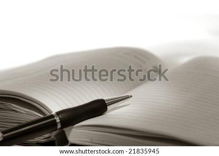 Ballpoint ink pen on an open day planner journal style appointment notebook for writing and taking notes - stock photo