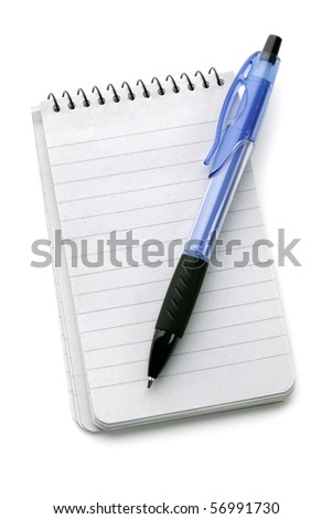 Ballpoint pen resting on a blank note pad isolated on white - stock photo