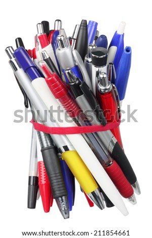 Ballpoint Pens on White Background - stock photo