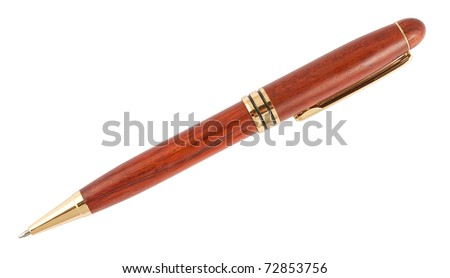 Ballpoint wooden pen isolated on white background - stock photo