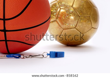Balls and whistle on a white background 5 - stock photo