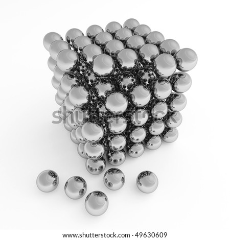 Balls in form of a cube. 3d illustration on a white background. - stock photo