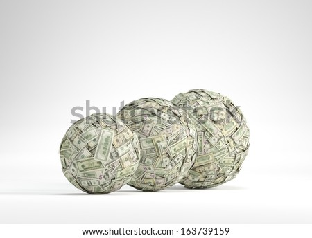Balls made of dollar bills - stock photo
