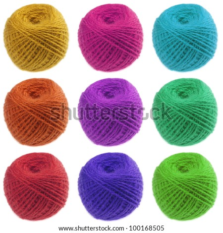 Balls of color yarns isolated on white background