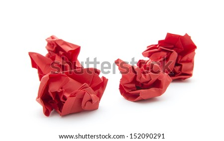 balls of crumpled paper isolated on white background - stock photo