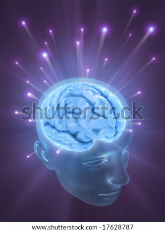 Balls of energy jump out the brain. Concept of idea, the power of mind. - stock photo