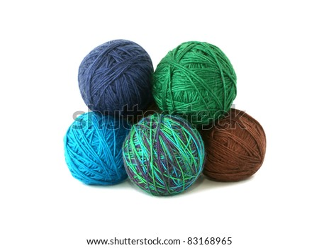 balls of wool isolated on white background - stock photo