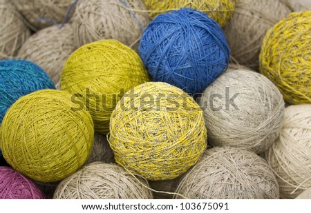 balls of yarn from natural fibers of hemp - stock photo