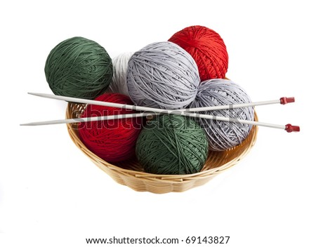 Balls of yarn in a basket with knitting needles - stock photo
