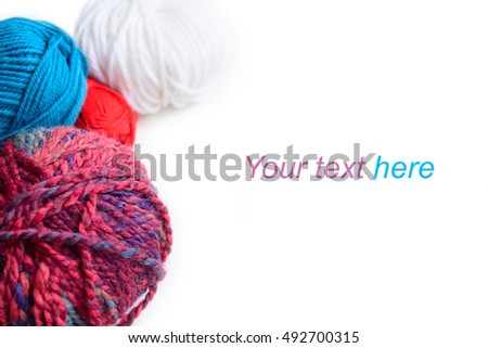 balls of yarn isolated multicolor