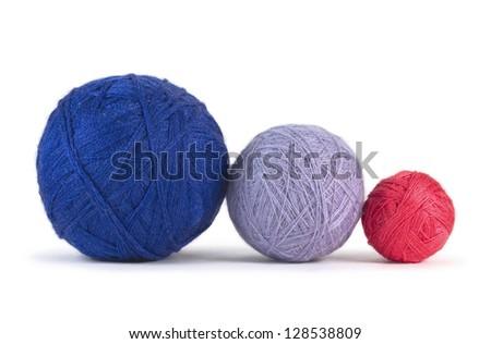 Balls of yarn isolated on white - stock photo