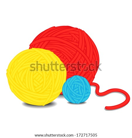 Balls of yarn. Raster version, vector file also included  - stock photo