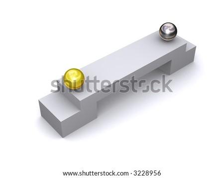 Balls on a bridge - stock photo