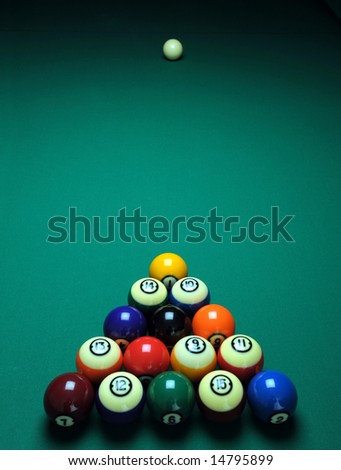 Balls on a pool (billiards) table before play