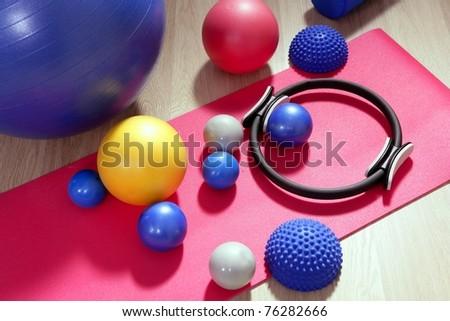 balls pilates toning stability ring roller yoga mat sport gym stuff - stock photo