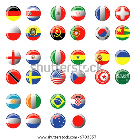 Balls with flag of country isolated on white zone