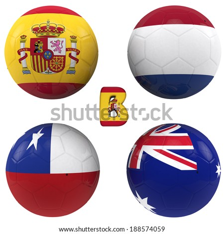 balls with flags of the football teams that make up the b group of 2014 brazil isolated with clipping path - stock photo