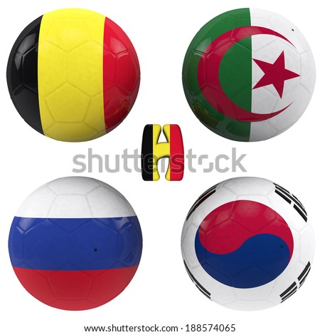 balls with flags of the football teams that make up the h group of 2014 brazil isolated with clipping path - stock photo
