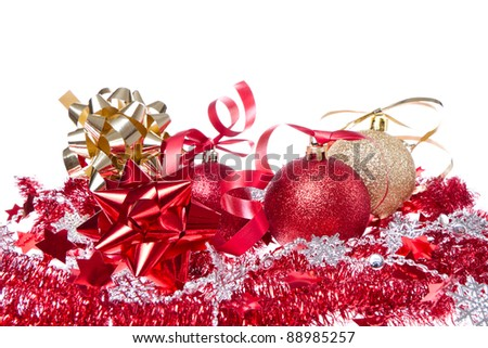 balls with ribbon and tinsel isolated on white background