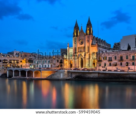 Balluta Bay and Church of Our Lady of Mount Carmel in the Evening, Saint Julien, Malta