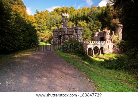 Ballysaggartmore towers and entrance in Waterford in Ireland Europe. - stock photo