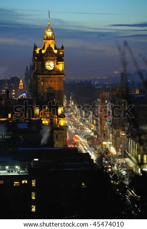 Balmoral (formerly North British) Hotel, Princes Street, Edinburgh, Scotland, UK at dusk - stock photo
