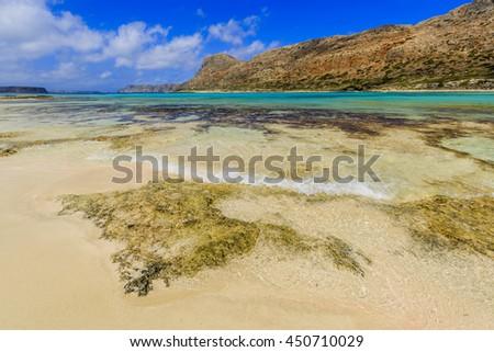 Balos Lagoon and Gramvousa island on Crete, Greece  - stock photo