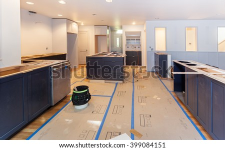 Balsa wood template arranged and glued for making engineered stone countertops - stock photo