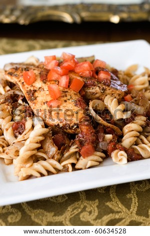 Balsamic Glazed Chicken Breast and Whole Wheat Rotini Pasta - stock photo