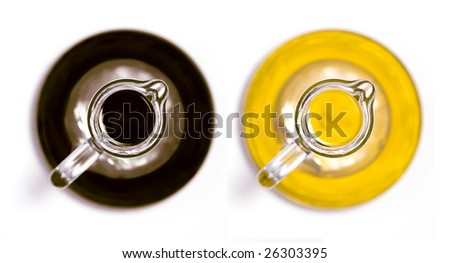 balsamic vinegar and olive oil bottles top view - stock photo