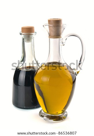 balsamic vinegar and olive oil in a glass - stock photo