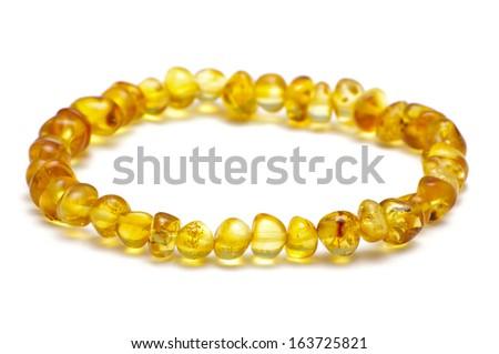 Baltic amber bracelet, lemon color model - stock photo