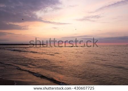 Baltic beautiful Sea sunset, Poland - stock photo