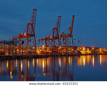 Baltic container terminal in Gdynia, Poland. - stock photo