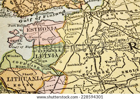 Baltic countries (Estonia, Latvia, Lithuania) and Russia (Soviet Union) on vintage 1920s map, selective focus (printed in 1926 in New International Atlas of the World - copyrights expired) - stock photo