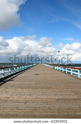 Baltic sea and bridge in Palanga, main resort in Lithuania - stock photo