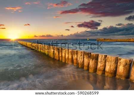 Baltic sea at beautiful sunrise