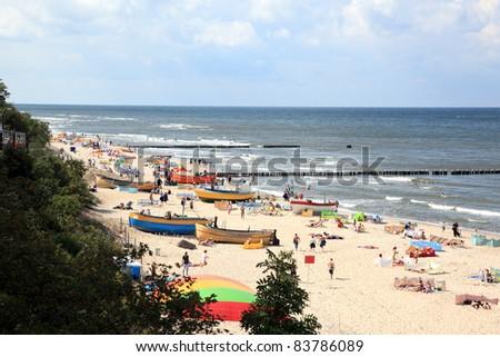 Baltic sea at summer day. Niechorze, Poland, Europe - stock photo