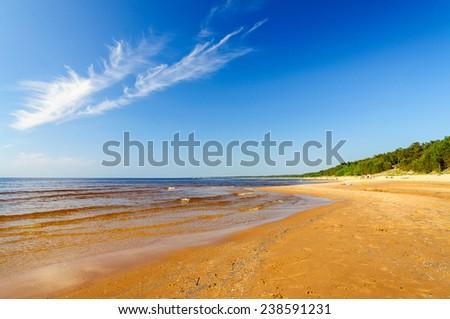 Baltic sea beach in Saulkrasti, Latvia - stock photo