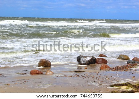 baltic sea beach in stormy weather