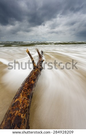 Baltic Sea Beach With Upcoming Storm And Big Waves In North Poland/ Sea Storm On Baltic - stock photo