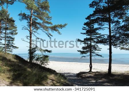 Baltic sea coast, gulf of Riga, Latvia. - stock photo
