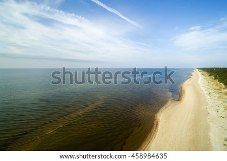 Baltic sea coastline at Irbe strait, Latvia. - stock photo