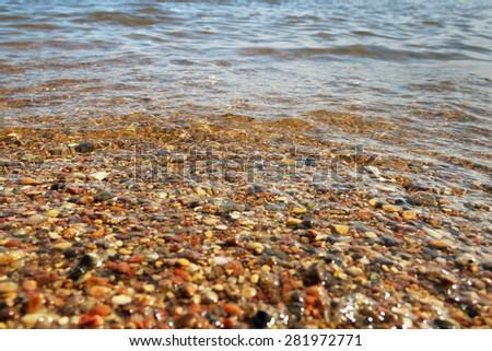 Baltic sea coastline, waves water. - stock photo