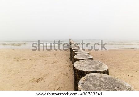 Baltic sea in the fog, Poland - stock photo