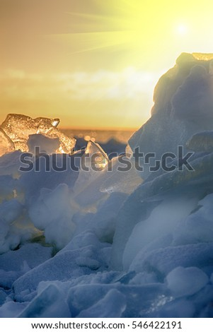 Baltic sea in winter. Fresh ice hummocks and cracks in ice edge