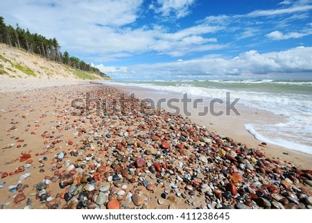 Baltic sea shore in Jurkalne, Latvia - stock photo